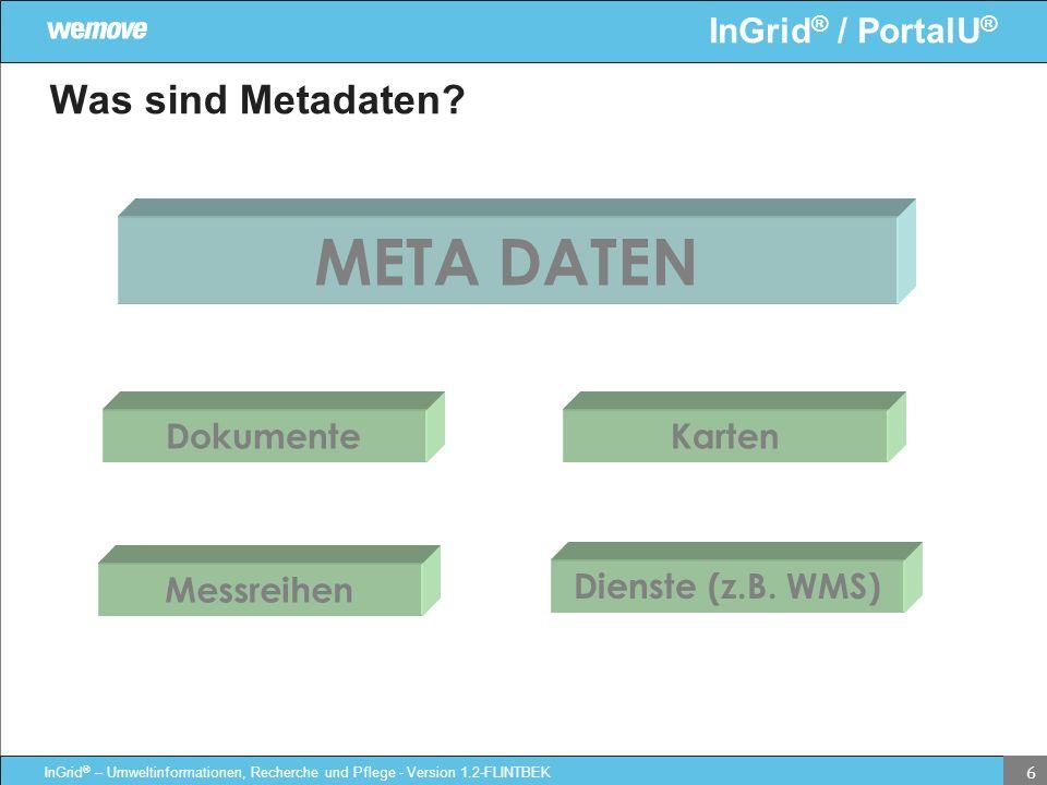 META DATEN Was sind Metadaten Dokumente Karten Messreihen