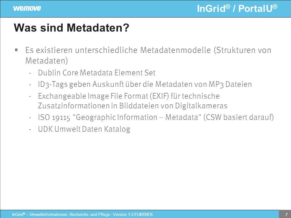 Was sind Metadaten Es existieren unterschiedliche Metadatenmodelle (Strukturen von Metadaten) Dublin Core Metadata Element Set.