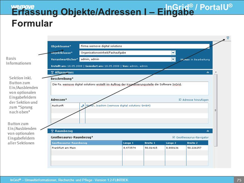Erfassung Objekte/Adressen I – Eingabe Formular