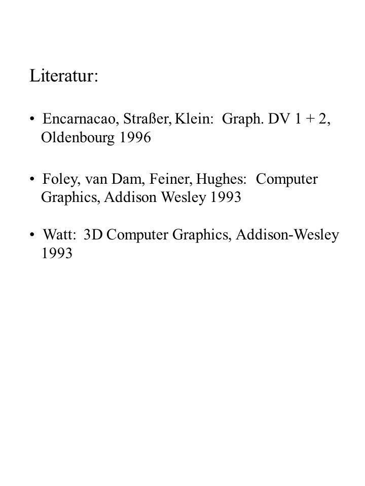 Literatur: Encarnacao, Straßer, Klein: Graph. DV 1 + 2,