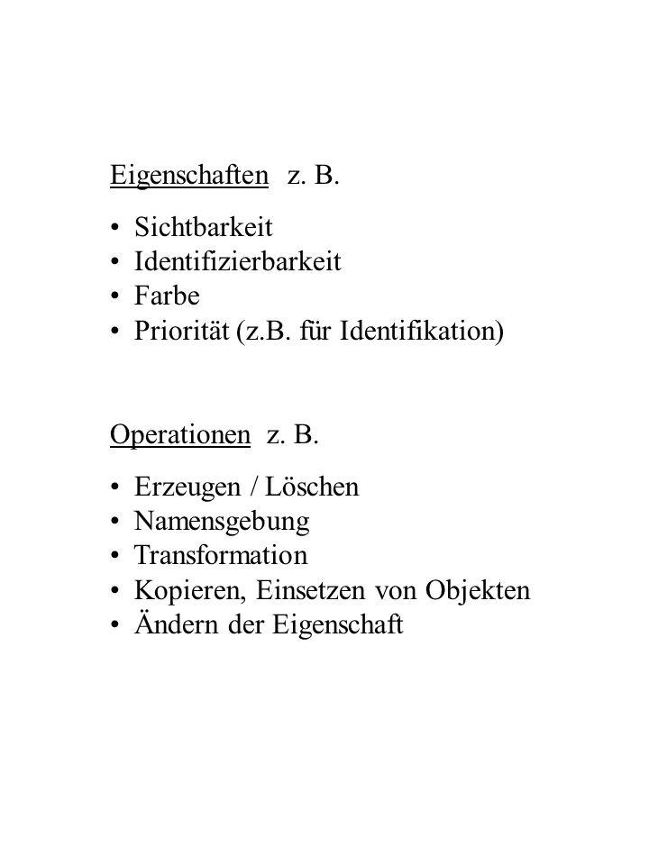Eigenschaften z. B. Sichtbarkeit. Identifizierbarkeit. Farbe. Priorität (z.B. für Identifikation)