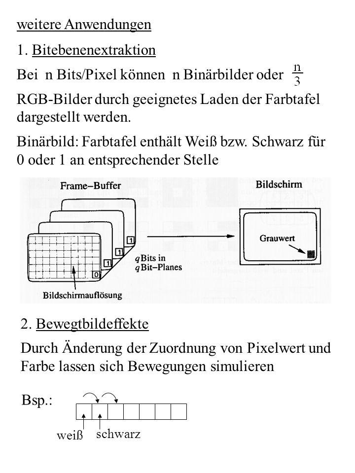 Bei n Bits/Pixel können n Binärbilder oder