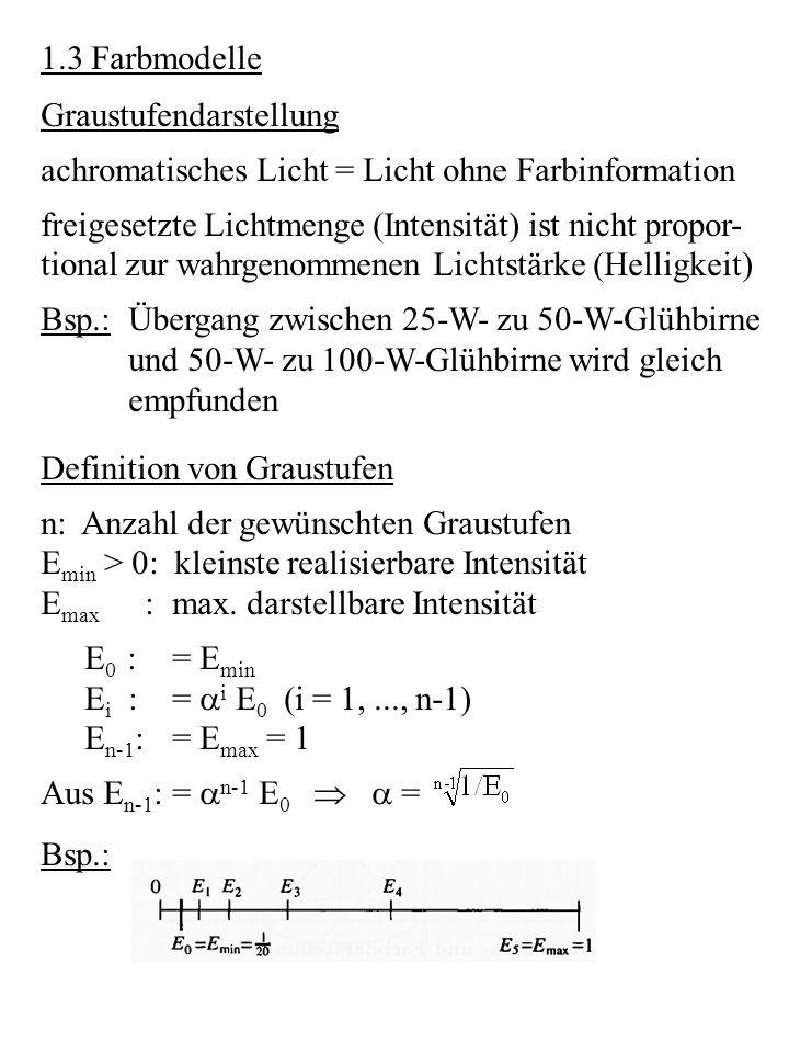 1.3 Farbmodelle Graustufendarstellung. achromatisches Licht = Licht ohne Farbinformation. freigesetzte Lichtmenge (Intensität) ist nicht propor-