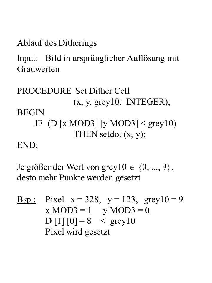 Ablauf des Ditherings Input: Bild in ursprünglicher Auflösung mit. Grauwerten. PROCEDURE Set Dither Cell.