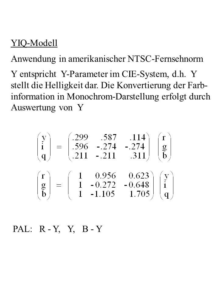 YIQ-Modell Anwendung in amerikanischer NTSC-Fernsehnorm. Y entspricht Y-Parameter im CIE-System, d.h. Y.