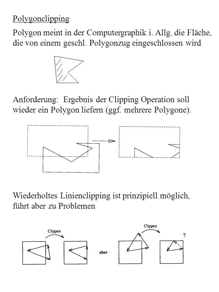 Polygonclipping Polygon meint in der Computergraphik i. Allg. die Fläche, die von einem geschl. Polygonzug eingeschlossen wird.