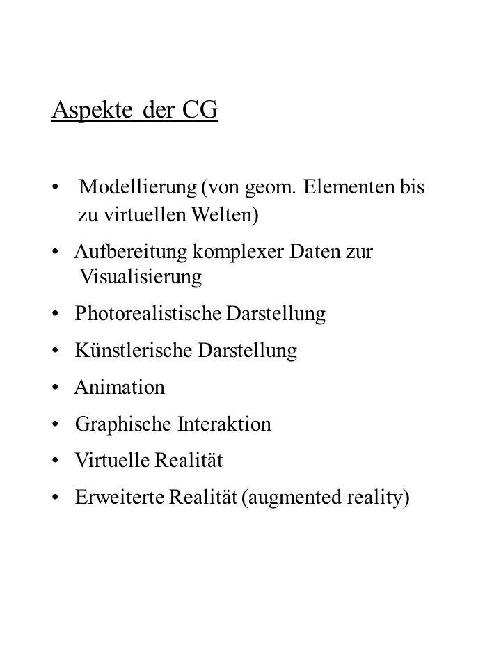 Aspekte der CG Modellierung (von geom. Elementen bis