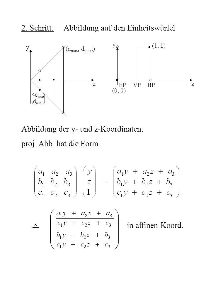 2. Schritt: Abbildung auf den Einheitswürfel