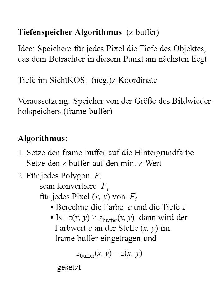 Tiefenspeicher-Algorithmus (z-buffer)