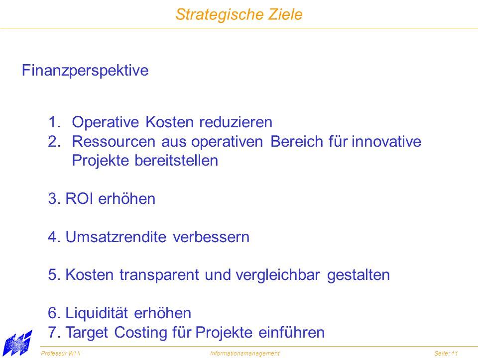 Strategische Ziele Finanzperspektive. Operative Kosten reduzieren. Ressourcen aus operativen Bereich für innovative.