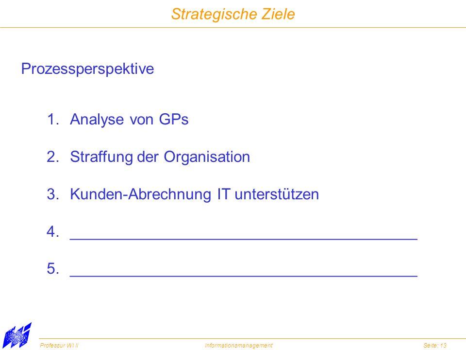 Strategische Ziele Prozessperspektive. Analyse von GPs. Straffung der Organisation. Kunden-Abrechnung IT unterstützen.