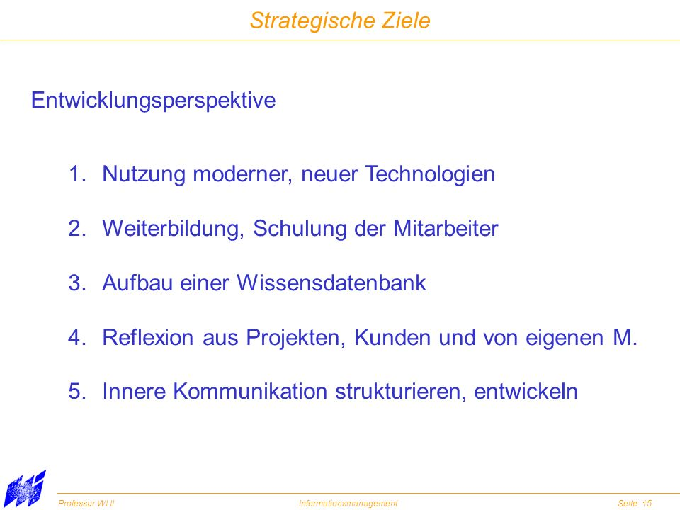 Strategische Ziele Entwicklungsperspektive. Nutzung moderner, neuer Technologien. Weiterbildung, Schulung der Mitarbeiter.