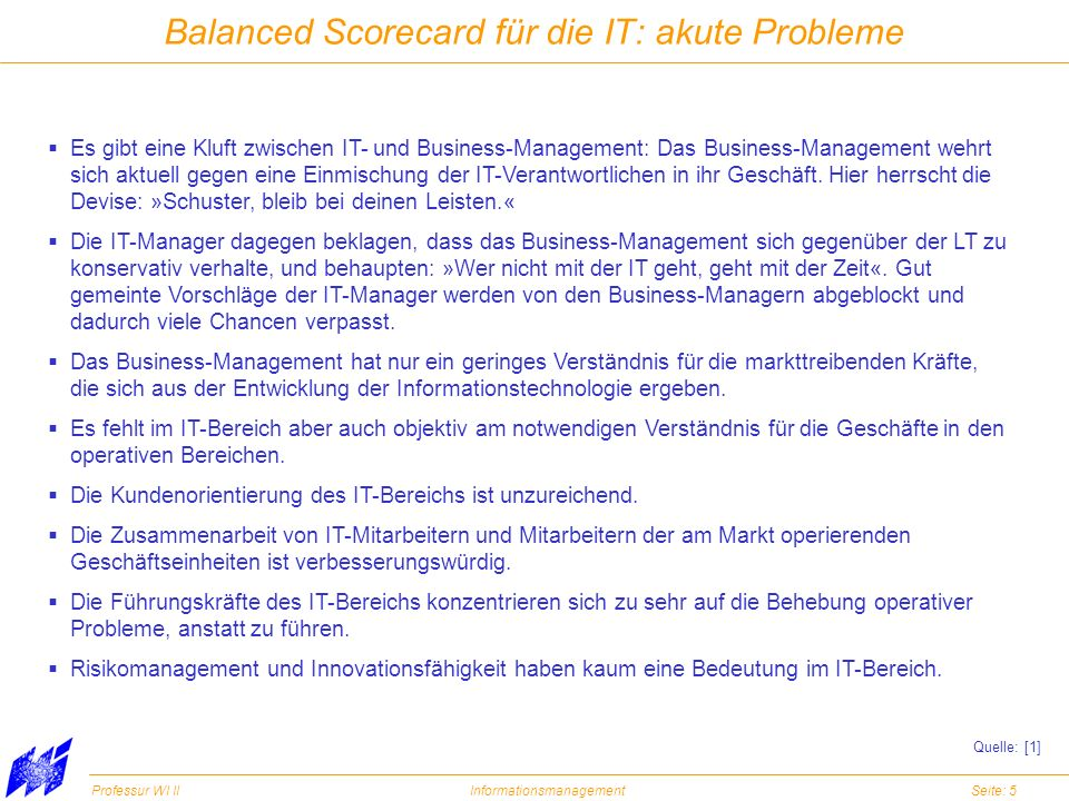 Balanced Scorecard für die IT: akute Probleme