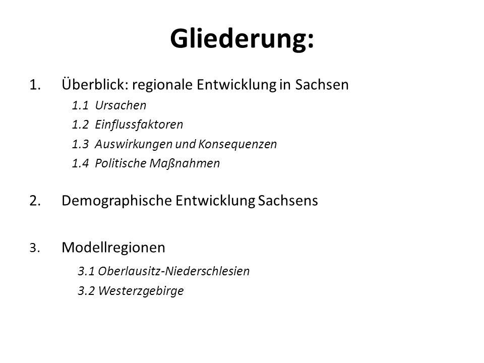 Gliederung: Überblick: regionale Entwicklung in Sachsen