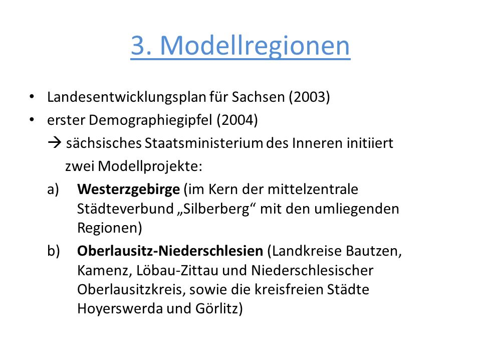 3. Modellregionen Landesentwicklungsplan für Sachsen (2003)