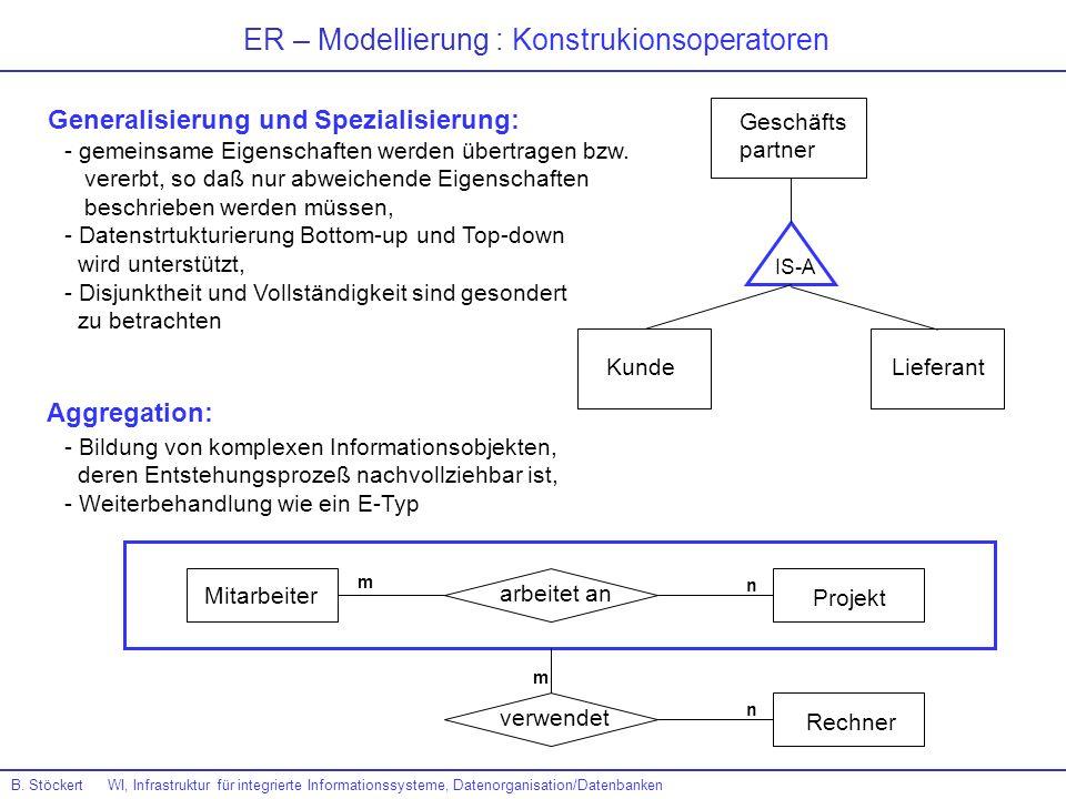 ER – Modellierung : Konstrukionsoperatoren