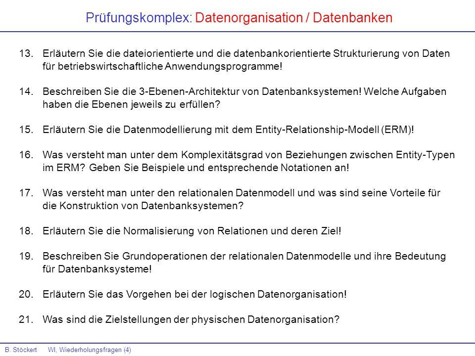 Prüfungskomplex: Datenorganisation / Datenbanken