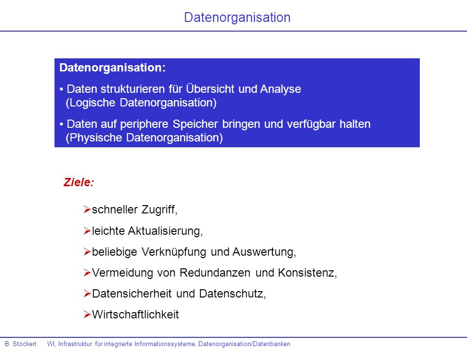 Datenorganisation Datenorganisation: