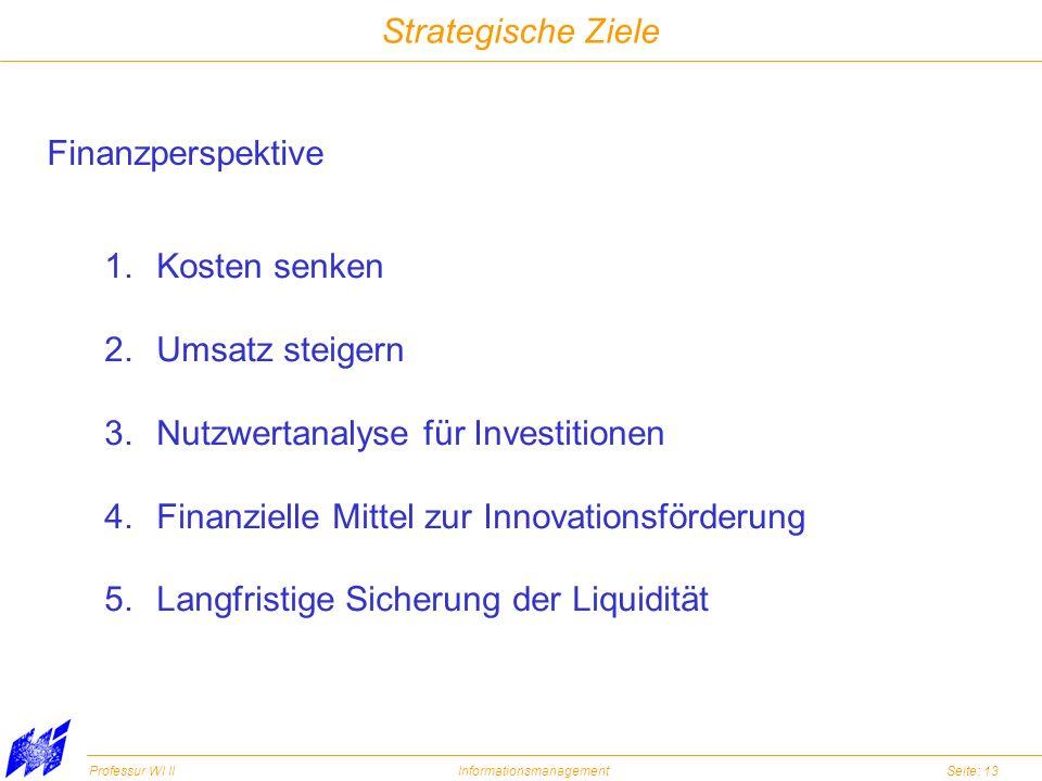 Strategische Ziele Finanzperspektive. Kosten senken. Umsatz steigern. Nutzwertanalyse für Investitionen.