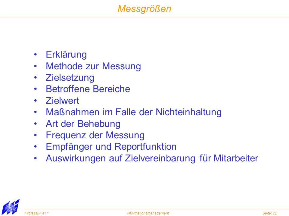 Messgrößen Erklärung. Methode zur Messung. Zielsetzung. Betroffene Bereiche. Zielwert. Maßnahmen im Falle der Nichteinhaltung.
