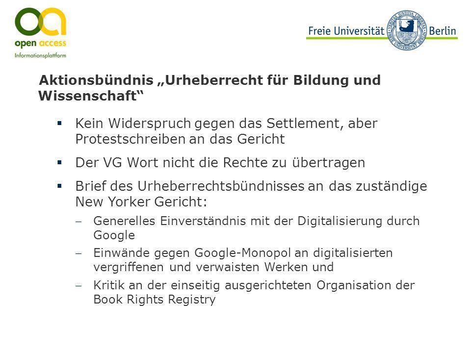 """Aktionsbündnis """"Urheberrecht für Bildung und Wissenschaft"""