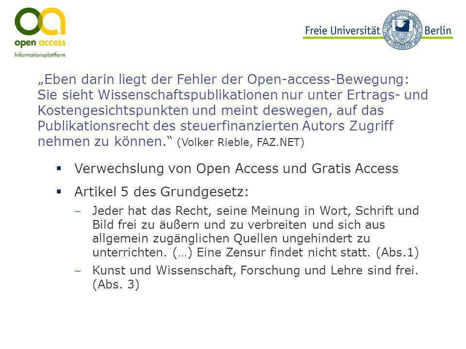 Verwechslung von Open Access und Gratis Access