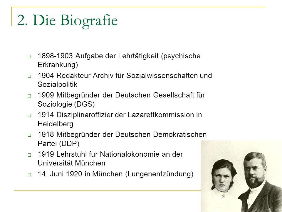 2. Die Biografie 1898-1903 Aufgabe der Lehrtätigkeit (psychische Erkrankung) 1904 Redakteur Archiv für Sozialwissenschaften und Sozialpolitik.