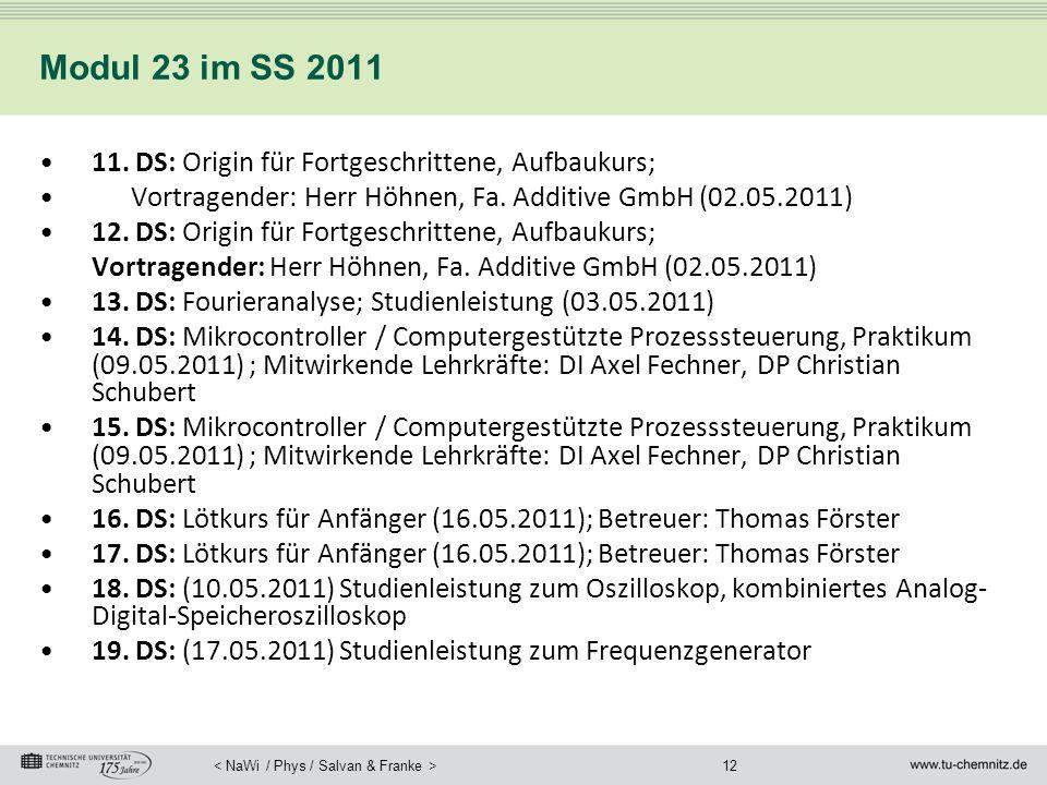Modul 23 im SS 2011 11. DS: Origin für Fortgeschrittene, Aufbaukurs;