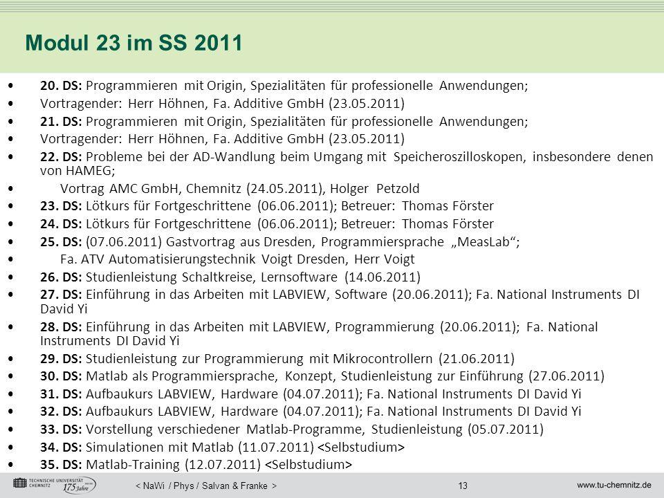 Modul 23 im SS 2011 20. DS: Programmieren mit Origin, Spezialitäten für professionelle Anwendungen;