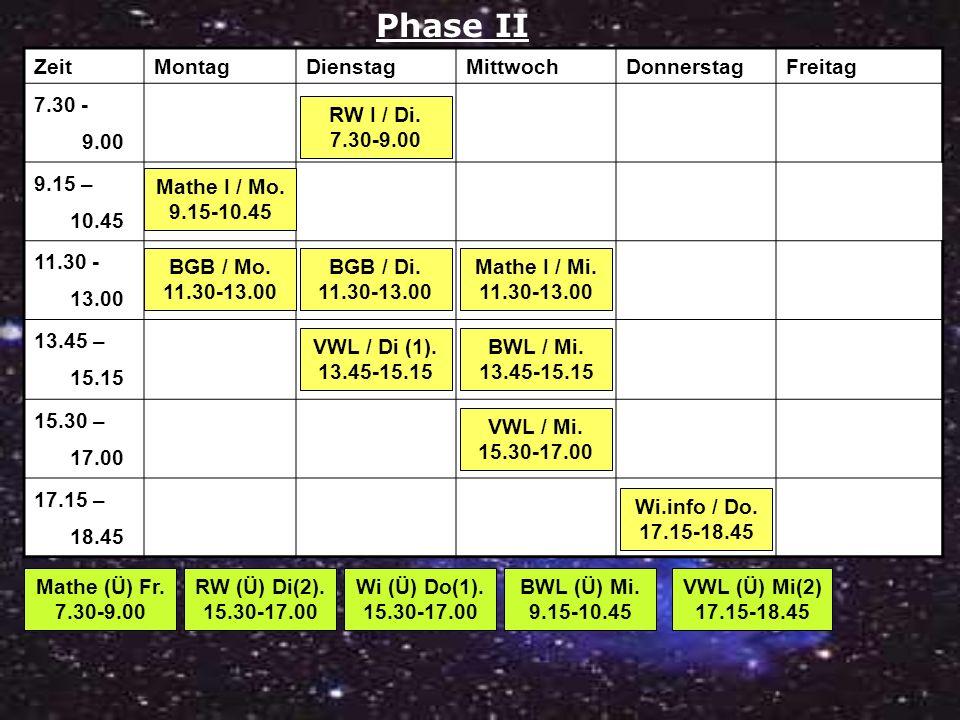 Phase II Zeit Montag Dienstag Mittwoch Donnerstag Freitag 7.30 - 9.00