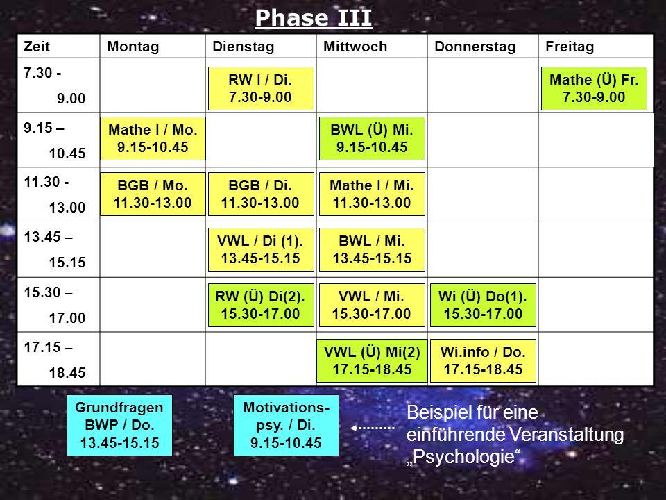 """Phase III Beispiel für eine einführende Veranstaltung """"Psychologie"""