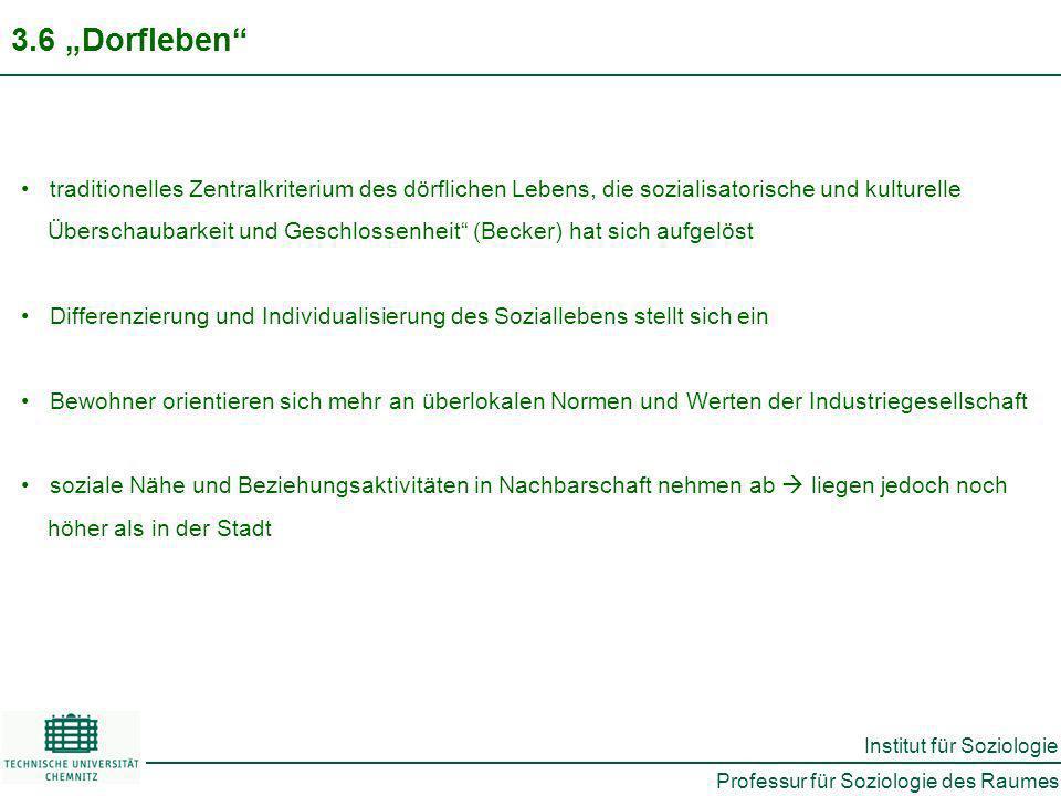 """3.6 """"Dorfleben traditionelles Zentralkriterium des dörflichen Lebens, die sozialisatorische und kulturelle."""