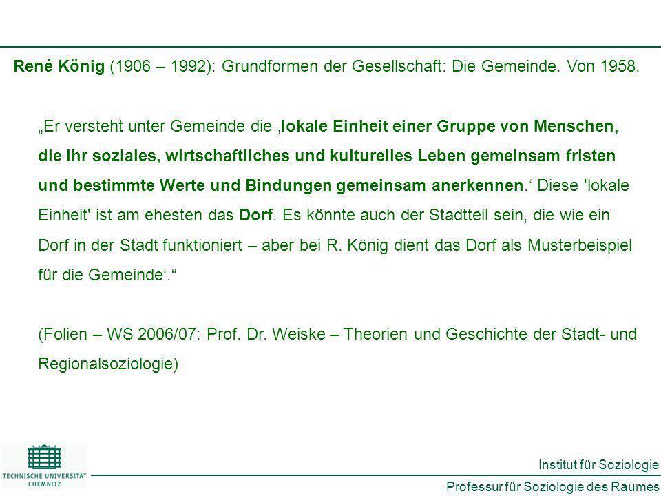 René König (1906 – 1992): Grundformen der Gesellschaft: Die Gemeinde