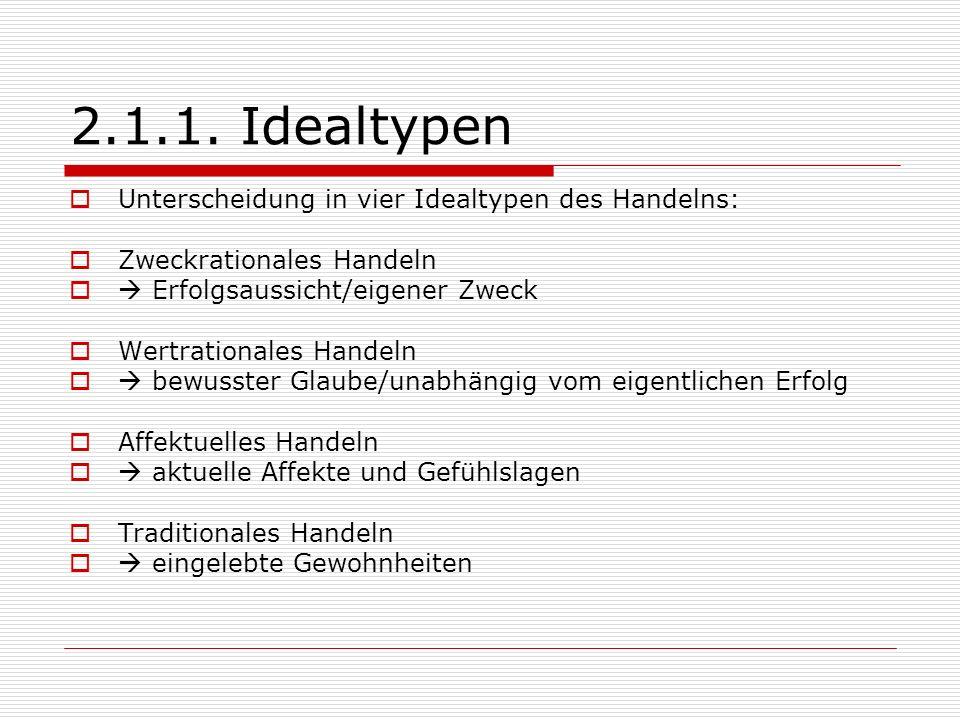 2.1.1. Idealtypen Unterscheidung in vier Idealtypen des Handelns: