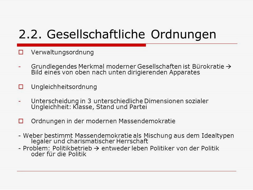 2.2. Gesellschaftliche Ordnungen