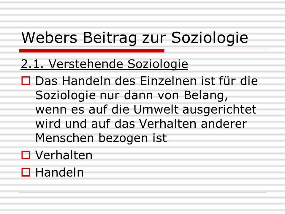 Webers Beitrag zur Soziologie