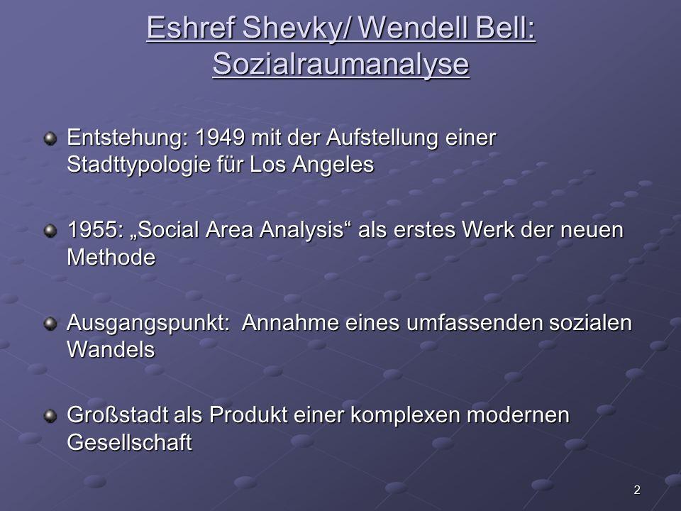 Eshref Shevky/ Wendell Bell: Sozialraumanalyse