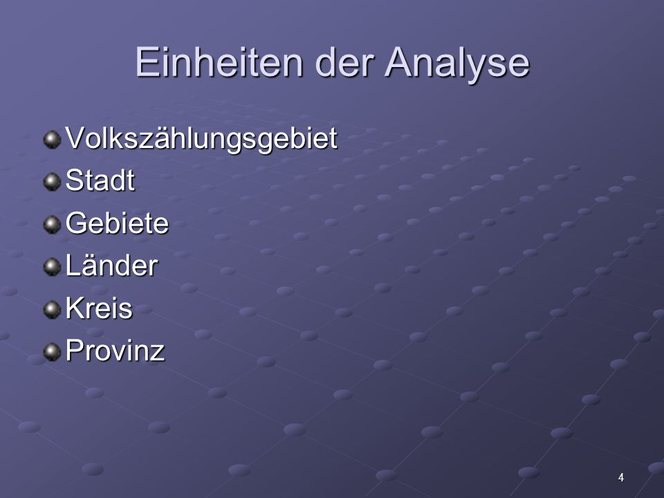 Einheiten der Analyse Volkszählungsgebiet Stadt Gebiete Länder Kreis