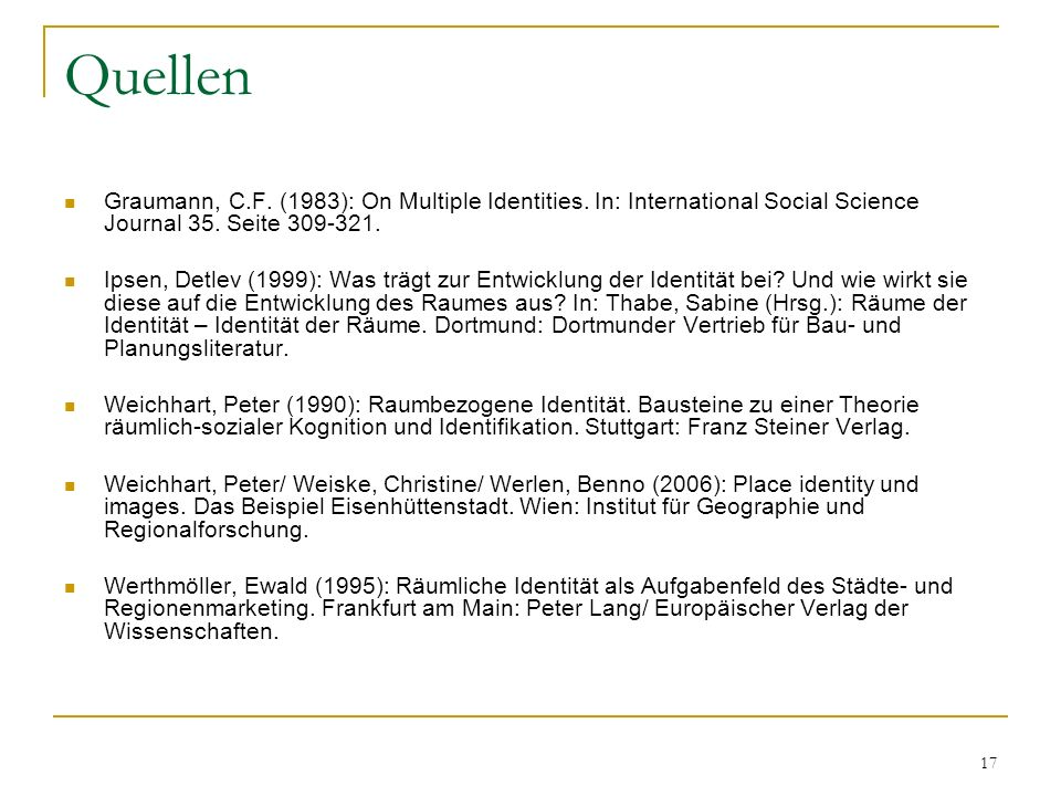 Quellen Graumann, C.F. (1983): On Multiple Identities. In: International Social Science Journal 35. Seite 309-321.