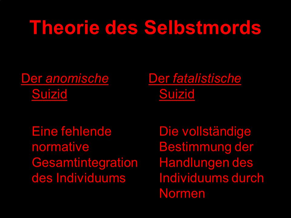Theorie des Selbstmords