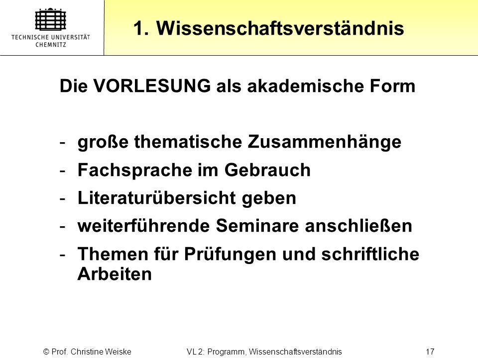 © Prof. Christine Weiske VL 2: Programm, Wissenschaftsverständnis 17