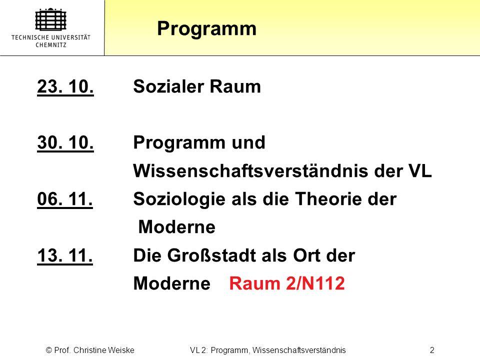 © Prof. Christine Weiske VL 2: Programm, Wissenschaftsverständnis 2