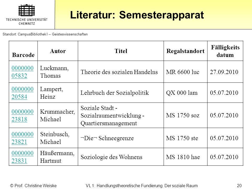Literatur: Semesterapparat