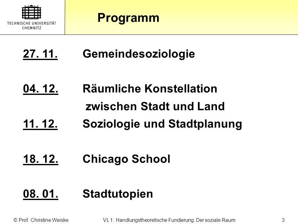 Gliederung Programm 27. 11. Gemeindesoziologie