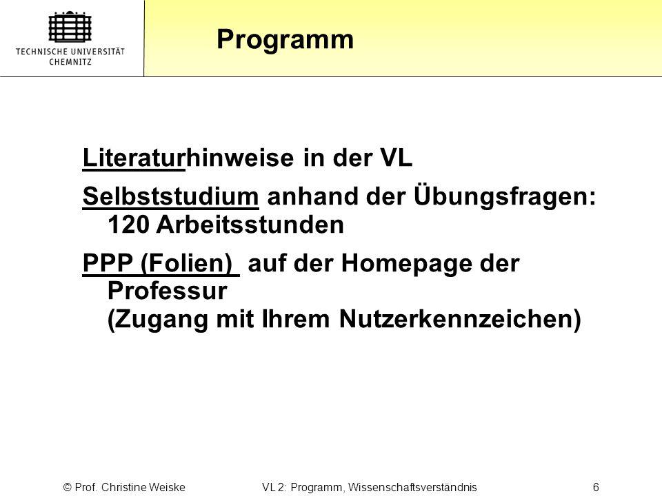 © Prof. Christine Weiske VL 2: Programm, Wissenschaftsverständnis 6
