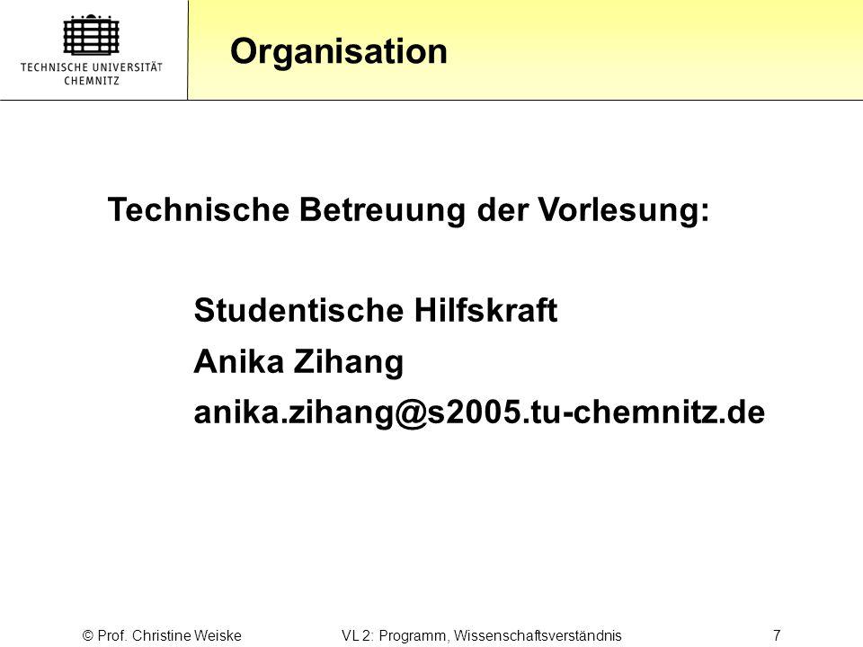 © Prof. Christine Weiske VL 2: Programm, Wissenschaftsverständnis 7