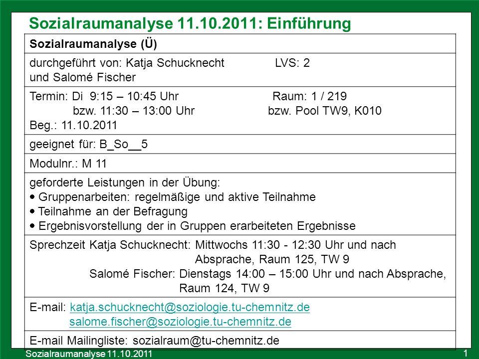 Sozialraumanalyse 11.10.2011: Einführung