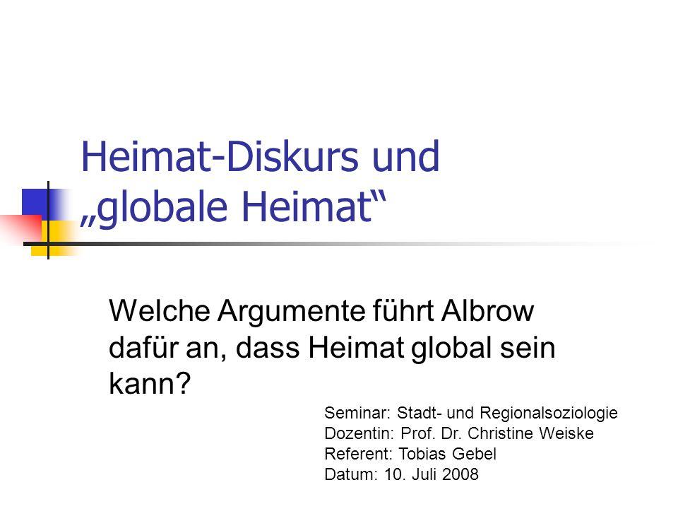 """Heimat-Diskurs und """"globale Heimat"""