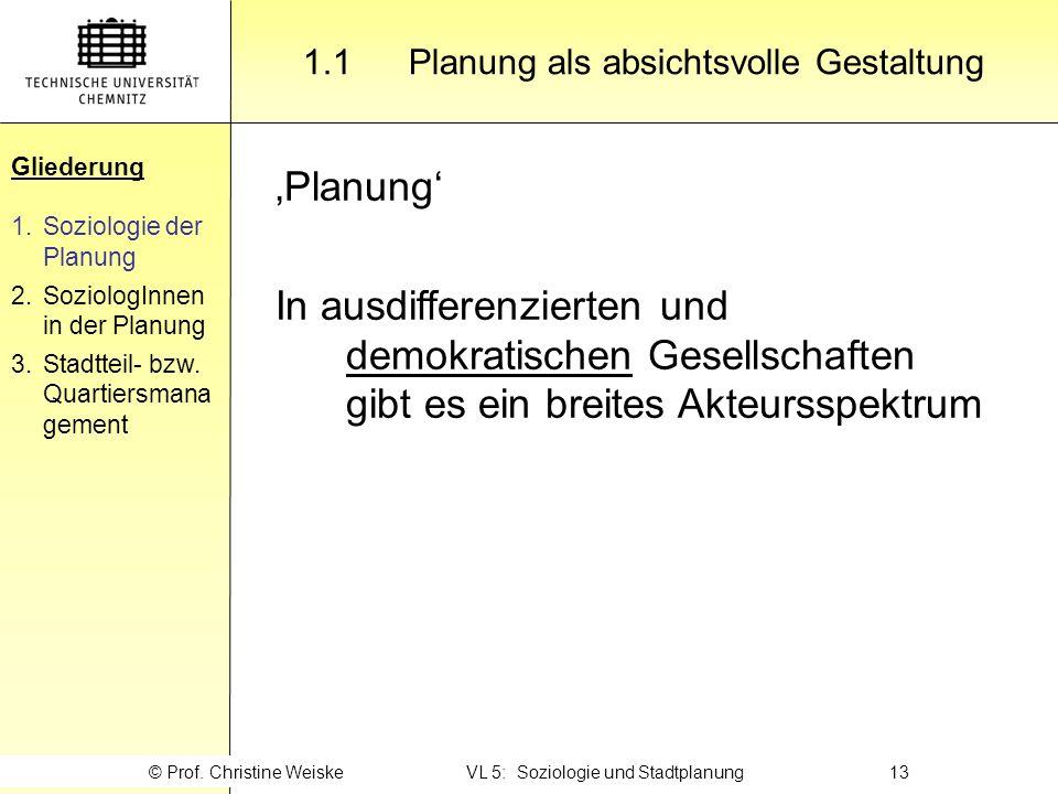 Gliederung 1.1 Planung als absichtsvolle Gestaltung. Gliederung. Soziologie der Planung. SoziologInnen in der Planung.