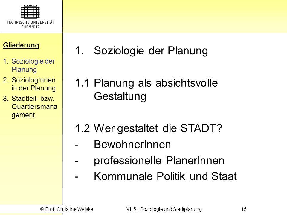 © Prof. Christine Weiske VL 5: Soziologie und Stadtplanung 15